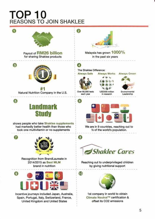 TOP 10 REASONS TO SAY YES TO SHAKLEE