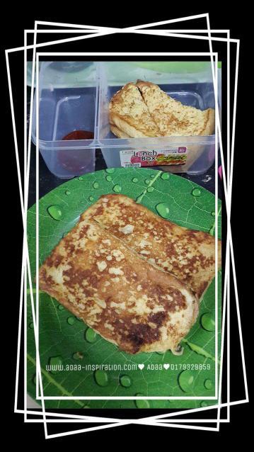 Buat bekal anak simple2 je pagi ni..budak-budak takleh makan banyak haha :P
